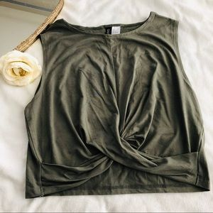 Olive green crop top size L